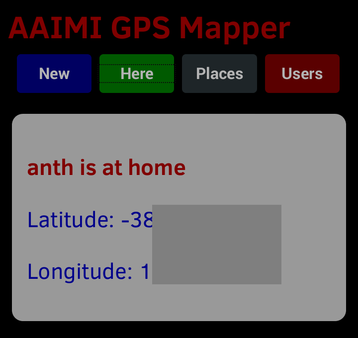 The AAIMI GPS Mapper display.